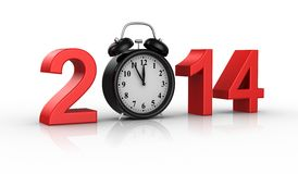 New Year 2014. White background,  3d render Royalty Free Stock Images