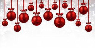 New Year background with Christmas balls. New Year white background with red Christmas balls. Vector illustration Stock Photography
