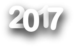 2017 New Year white background. 2017 New Year sign on white background. Vector paper illustration Royalty Free Stock Image