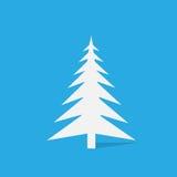New year white christmas tree over blue background. Flat icon design vector illustration stock illustration