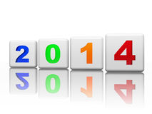 New year 2014 in white cubes with pied figures Stock Photo