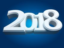 New 2018 year white 3D figures. New 2018 year, white 3D figures on blue background. 3D rendering Royalty Free Illustration