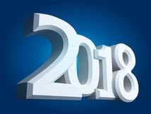 New 2018 year white 3D figures. New 2018 year, white 3D figures on blue background. 3D rendering Stock Illustration