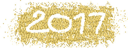 New year 2017 with white figures in gold confetti and ribbon.  Stock Image