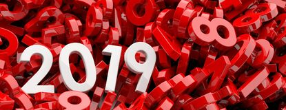 2019 New year. White 2019  figures on red numbers background, banner. 3d illustration. 2019 New year. White 2019  figures on red numbers heap background, banner Stock Photo