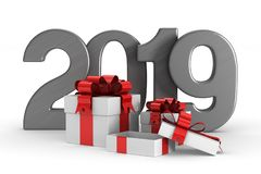 2019 new year. White gift boxes. Isolated 3D illustration.  stock illustration