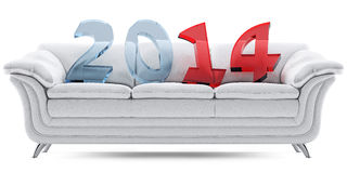 2014 new year on a white leathern sofa. 3D new year 2014 of blue and red glass on the white leathern sofa royalty free illustration