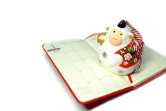 New year white monkey on the 2016 schedule book #2 Stock Photo