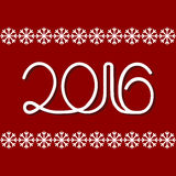 New Year 2016 white numbers. On a red background Stock Photos