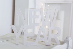 New Year white wooden table Royalty Free Stock Images