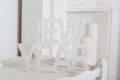New Year white wooden tables Stock Photography