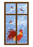 New year window with rooster Royalty Free Stock Images