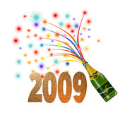 New year wine and fireworks. Illustration on new year celebrations with fireworks and wine bottle Royalty Free Stock Images