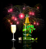 New year wine and fireworks. Illustration on 2009 new year celebrations with fireworks and wine bottle isolated on black background Royalty Free Stock Photography
