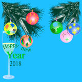 New year with wineglass. Happy new year with toys greeting card 2018 and wineglass Royalty Free Stock Photos