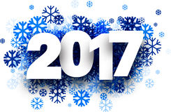 2017 New Year winter background. 2017 New Year winter background with blue snowflakes. Vector paper illustration royalty free illustration