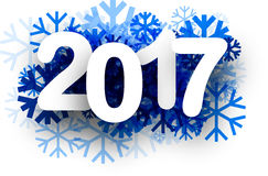 2017 New Year winter background. 2017 New Year winter background with blue snowflakes. Vector paper illustration stock illustration