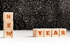 New Year winter background with falling snow Stock Images
