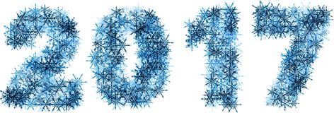 2017 New Year winter banner. 2017 New Year winter banner of blue snowflakes. Vector illustration vector illustration