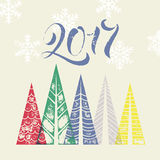 New Year winter holiday background with pine trees greeting card. New Year 2017 winter holiday background with pine trees greeting card. Happy New Year greeting Royalty Free Stock Photos