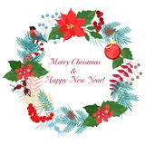 New Year. Winter pattern. Christmas wreaths. Templates for postcards royalty free illustration