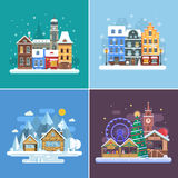 New Year and Winter Travel Backgrounds. Christmas fair, Europe winter town, snow village in alps and winter city street. Landscape set in flat design. New Year Royalty Free Stock Images