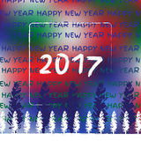 New year 2017. Winter vector with fir-tree Royalty Free Stock Images