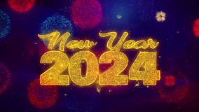 New Year 2024 wish Text on Colorful Ftirework Explosion Particles.