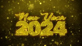 New Year 2024 Wish Text on Golden Glitter Shine Particles Animation.