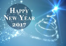 2017 new year wishes against digitally generated background. 2017 new year wishes against digitally generated blue background Stock Images