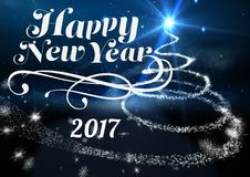 2017 new year wishes against digitally generated background. 2017 new year wishes against digitally generated blue background Royalty Free Stock Photography