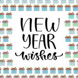New year Wishes. Handwritten Christmas greeting card design. New year icon. Calligraphic vector illustration. Stock Photography