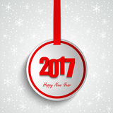 New Year wishes with round red label template. Vector eps 10 vector illustration