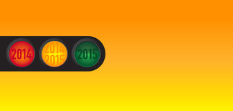 New Year wishes to the traffic light. Motif for companies in the sector - such as for drivers, transport companies, shipping companies, police, taxi, car repair Stock Image