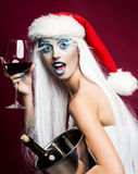 New year woman with wine Stock Photography