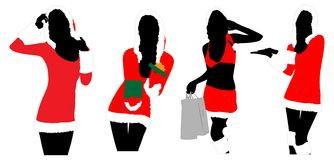 New year women silhouettes Stock Image