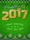 New Year 2017 of wood as christmas decoration Royalty Free Stock Photography