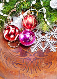 New year wood background with beautiful decorations. For holiday design Royalty Free Stock Photo