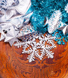New year wood background with beautiful decorations. For holiday design Stock Photography