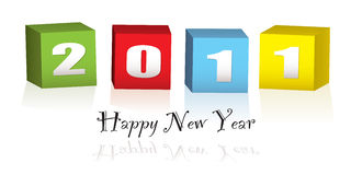 New Year wood blocks 2011. Colorful wooden blocks with the new year date 2011 Stock Photo