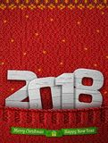 New Year 2018 of wood in knitted pocket Stock Photography