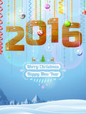 New Year 2016 of wood like christmas decoration Royalty Free Stock Images