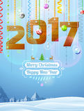 New Year 2017 of wood like christmas decoration. Winter landscape with christmas congratulation. Vector illustration for new years day, christmas, winter holiday Royalty Free Stock Photography