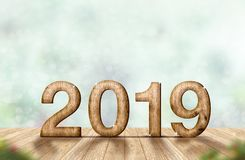 New year 2019 wood number 3d rendering on wooden plank table a. T blur abstract green bokeh background,Mock up banner space for display or montage of product stock photography