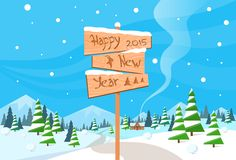 New year 2015 wood texture text sign goat logo. Symbol, winter forest landscape christmas background, pine snow trees vector illustration royalty free illustration