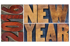 2016 New Year  in wood type Stock Photo