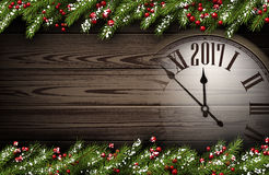 2017 New Year wooden background. 2017 Year wooden background with clock and fir branches. Vector illustration Royalty Free Stock Photography