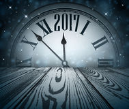 2017 New Year wooden background. 2017 Year background with clock and wooden texture. Vector illustration Royalty Free Stock Image