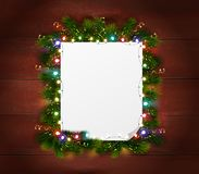 New Year Wooden Background. With empty white paper sheet framed by pine branches realistic vector Illustration Royalty Free Stock Photos