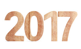 2017 New year wooden digits. Isolated on white background.3d render Stock Photo